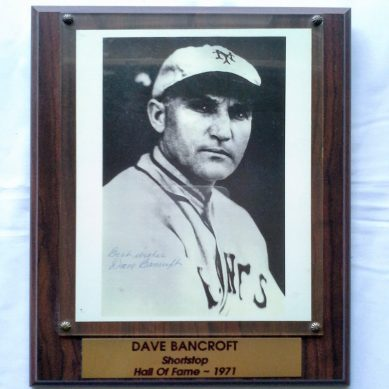 Dave Bancroft Hall Of Fame Plaque