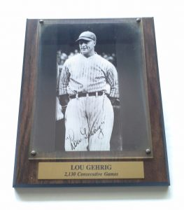 Lou Gehrig 2130 Game Plaque